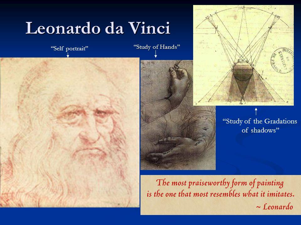 """Leonardo da Vinci """"Study of Hands"""" """"Study of the Gradations of shadows"""" """"Self portrait"""""""