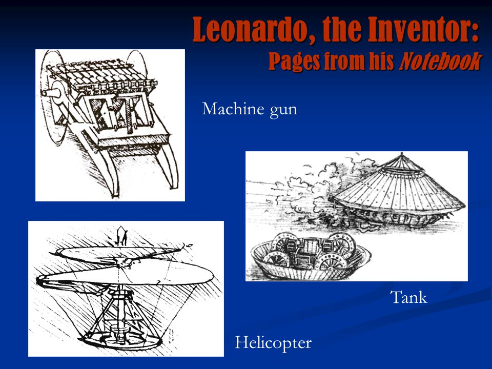 Leonardo, the Inventor: Pages from his Notebook Machine gun Tank Helicopter