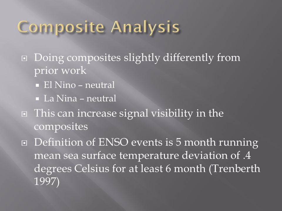  Doing composites slightly differently from prior work  El Nino – neutral  La Nina – neutral  This can increase signal visibility in the composites  Definition of ENSO events is 5 month running mean sea surface temperature deviation of.4 degrees Celsius for at least 6 month (Trenberth 1997)