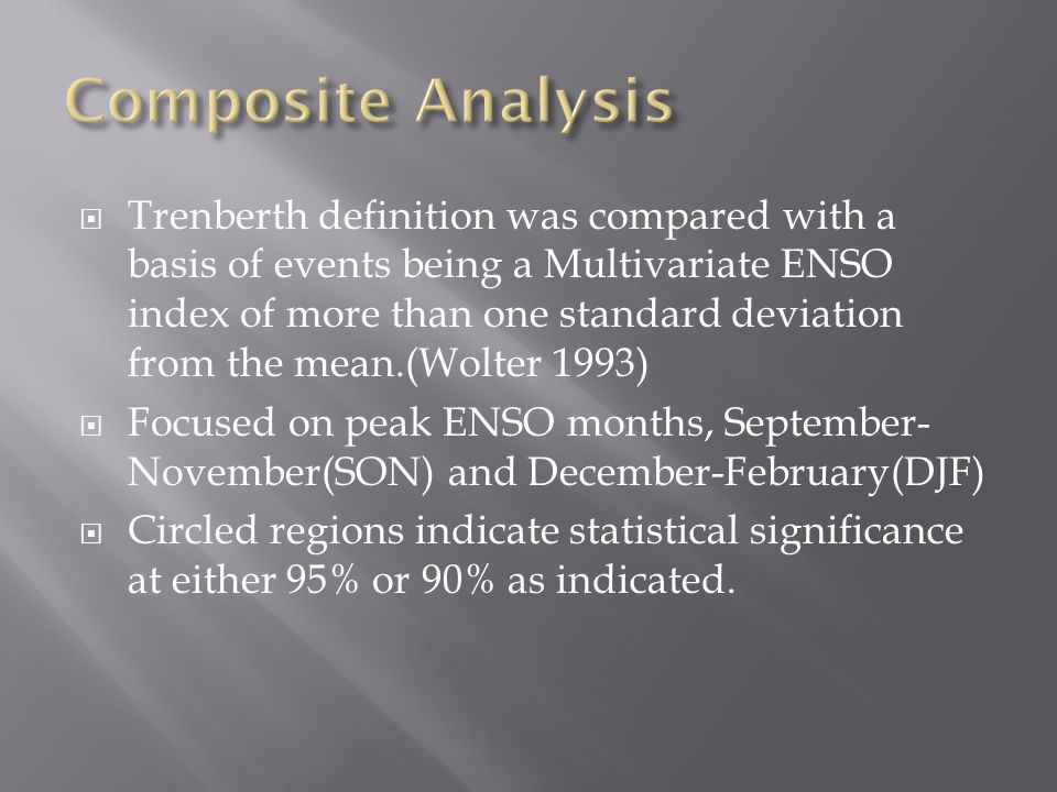  Trenberth definition was compared with a basis of events being a Multivariate ENSO index of more than one standard deviation from the mean.(Wolter 1993)  Focused on peak ENSO months, September- November(SON) and December-February(DJF)  Circled regions indicate statistical significance at either 95% or 90% as indicated.
