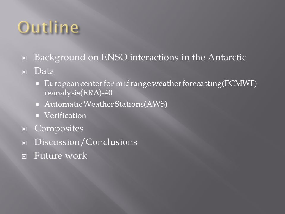  Background on ENSO interactions in the Antarctic  Data  European center for midrange weather forecasting(ECMWF) reanalysis(ERA)-40  Automatic Weather Stations(AWS)  Verification  Composites  Discussion/Conclusions  Future work