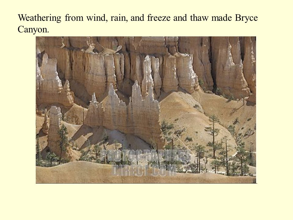 Weathering from wind, rain, and freeze and thaw made Bryce Canyon.