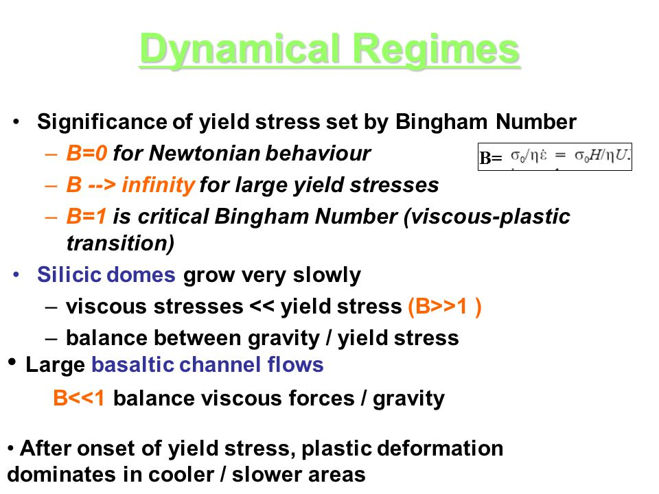 Dynamical Regimes Significance of yield stress set by Bingham Number –B=0 for Newtonian behaviour –B --> infinity for large yield stresses –B=1 is cri