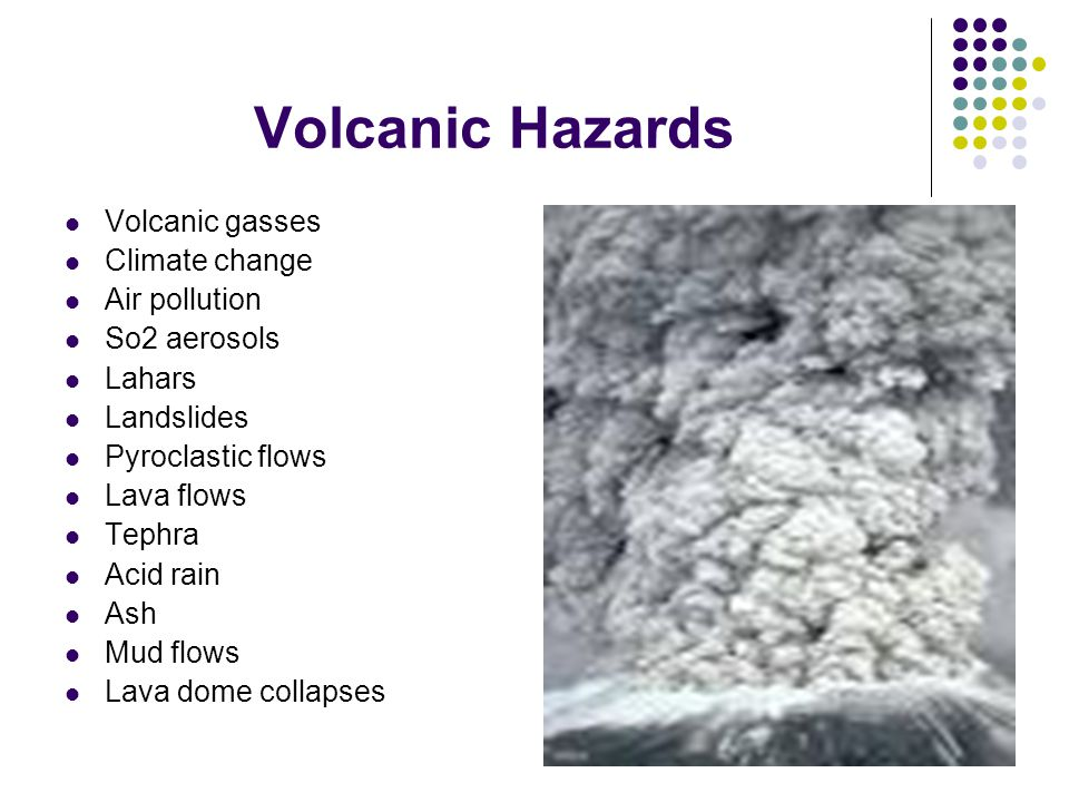 Volcanic Hazards Volcanic gasses Climate change Air pollution So2 aerosols Lahars Landslides Pyroclastic flows Lava flows Tephra Acid rain Ash Mud flows Lava dome collapses
