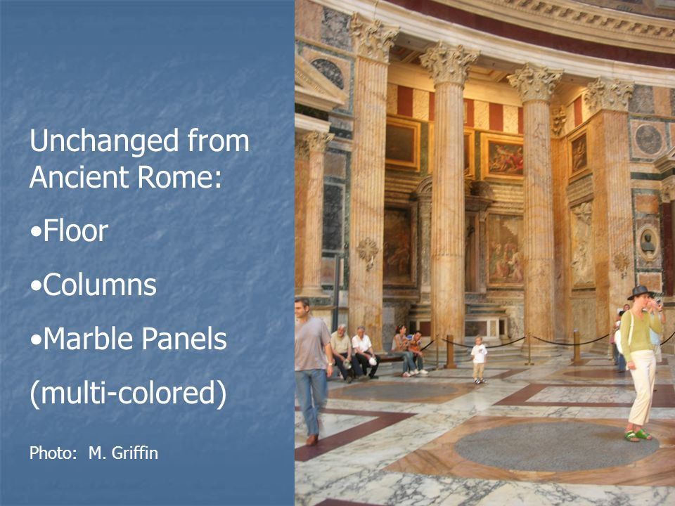 Unchanged from Ancient Rome: Floor Columns Marble Panels (multi-colored) Photo: M. Griffin