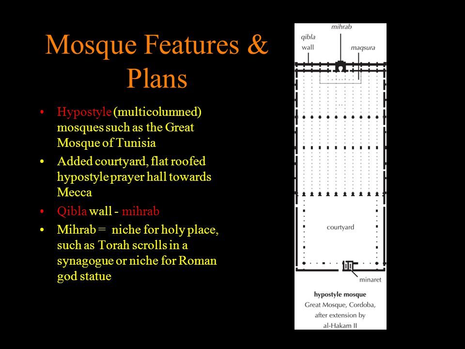 Mosque Features & Plans Hypostyle (multicolumned) mosques such as the Great Mosque of Tunisia Added courtyard, flat roofed hypostyle prayer hall towar