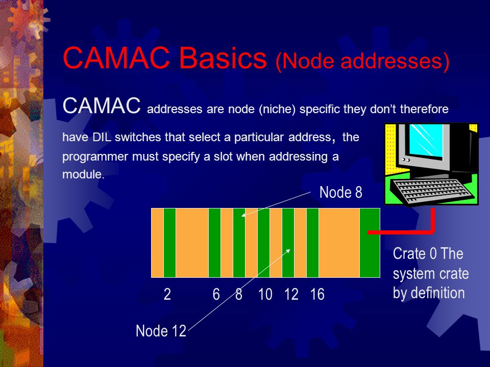 CAMAC Basics (Node addresses) CAMAC addresses are node (niche) specific they don't therefore have DIL switches that select a particular address, the programmer must specify a slot when addressing a module.