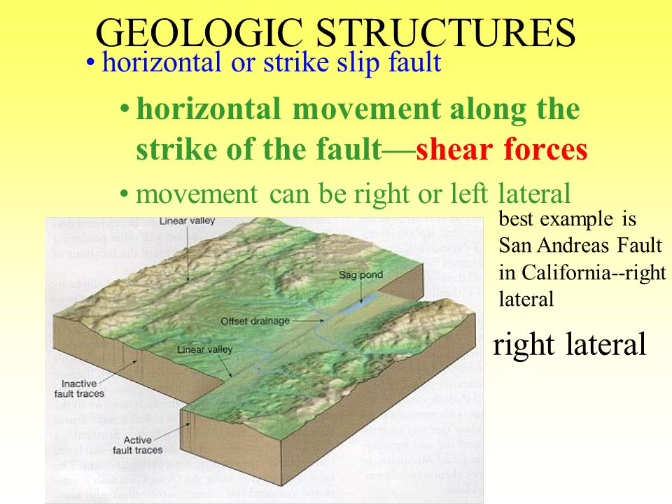 GEOLOGIC STRUCTURES horst and graben wedge of land that moves up (horst) or down (graben) between 2 normal dip slip faults—caused by tensional forces