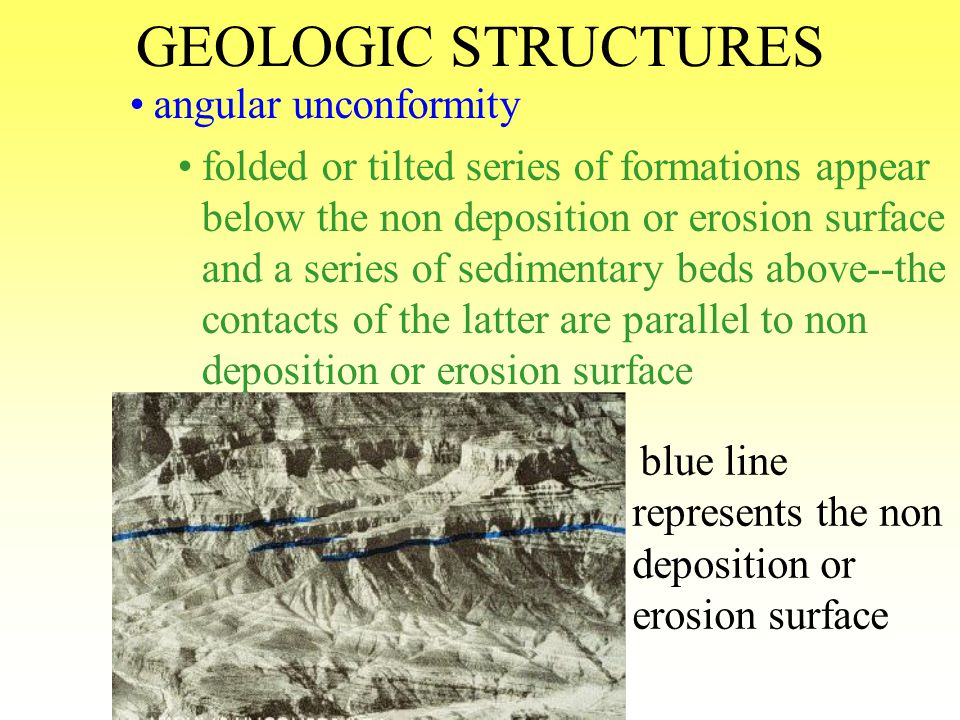 GEOLOGIC STRUCTURES disconformity series of sedimentary rocks appear above and below the non deposition or erosion surface contacts of the sedimentary