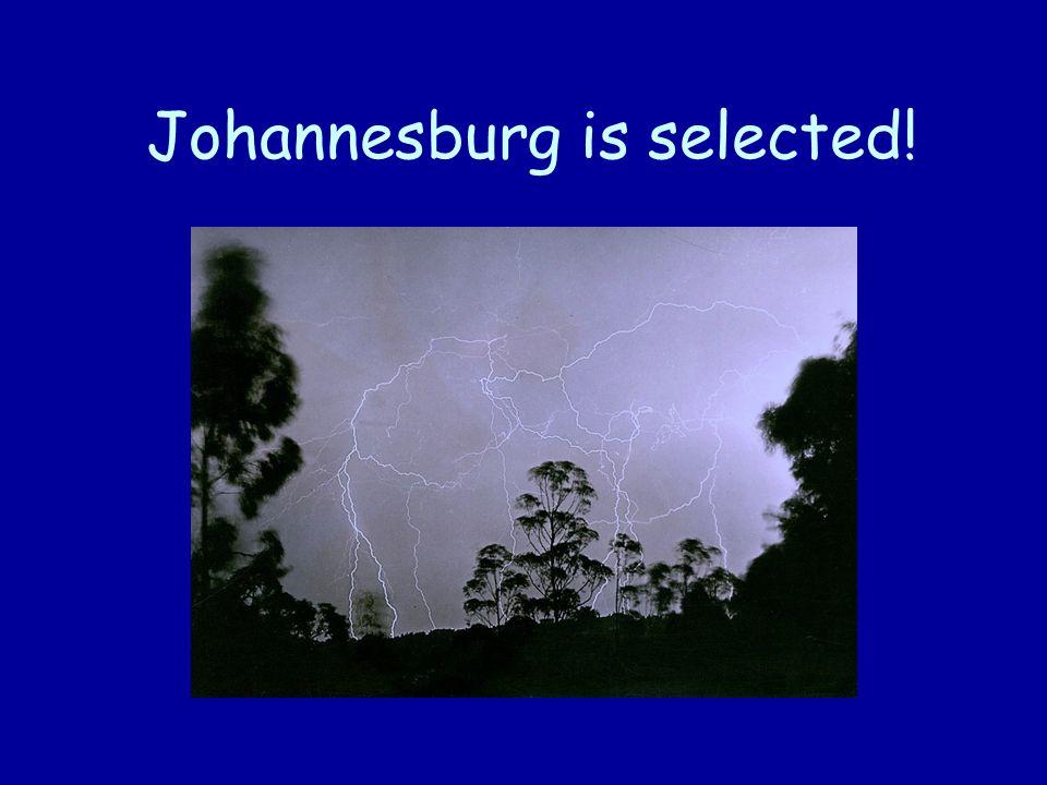 Johannesburg is selected!