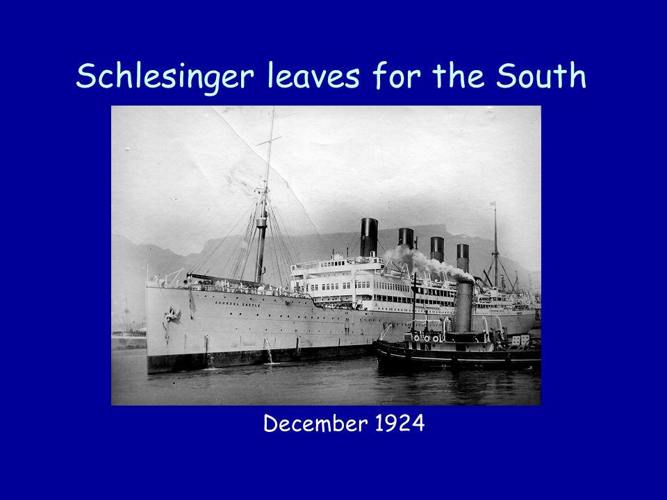 Schlesinger leaves for the South December 1924