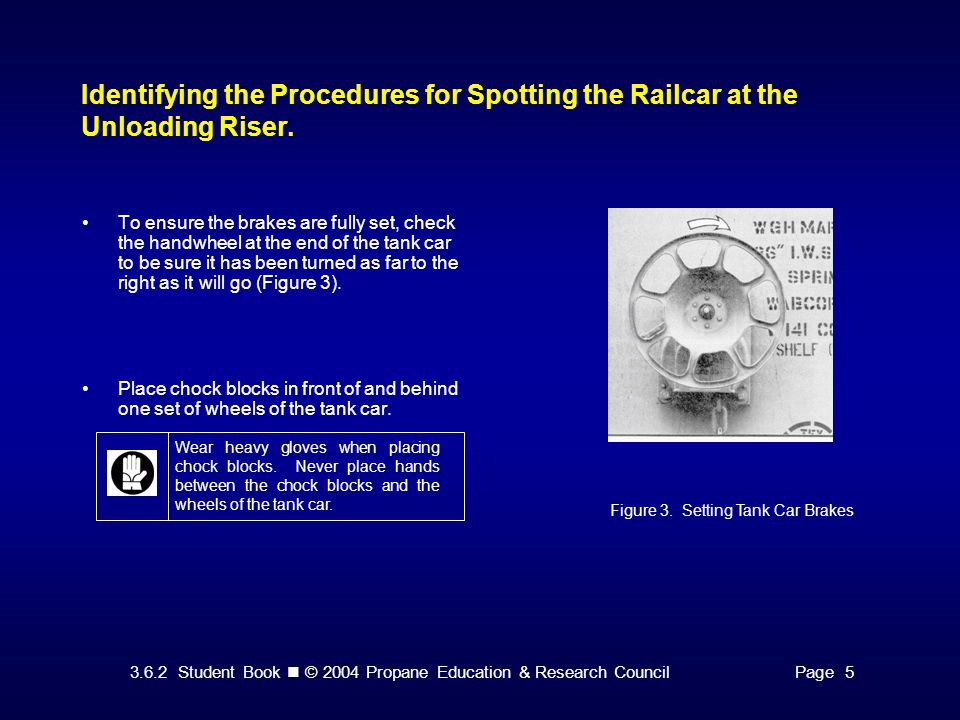 3.6.2 Student Book © 2004 Propane Education & Research CouncilPage 5 Identifying the Procedures for Spotting the Railcar at the Unloading Riser.