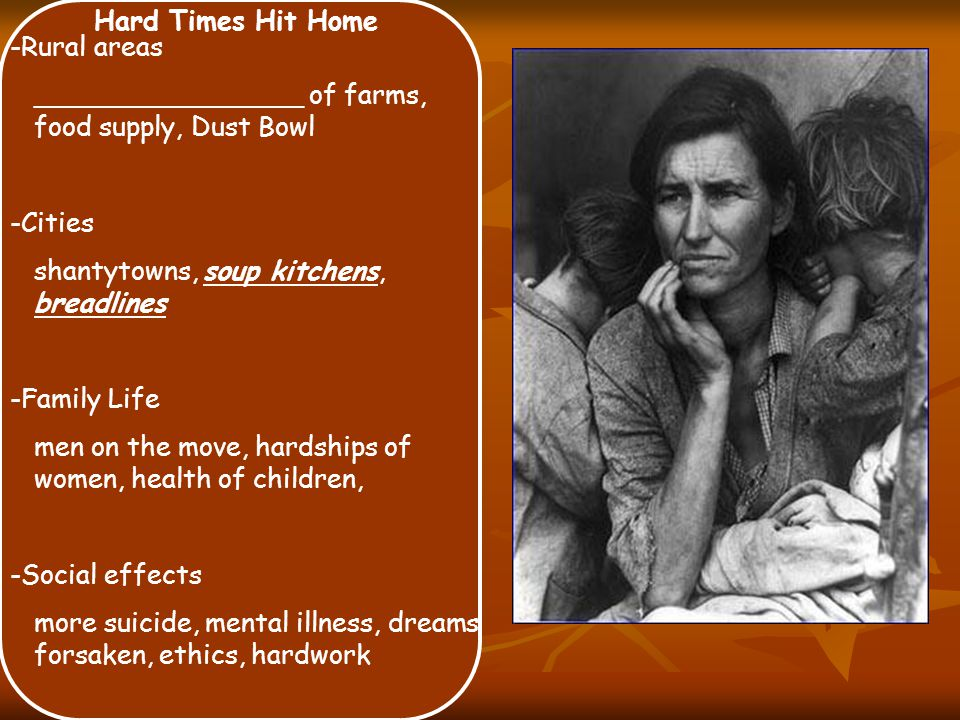 Hard Times Hit Home -Rural areas ________________ of farms, food supply, Dust Bowl -Cities shantytowns, soup kitchens, breadlines -Family Life men on the move, hardships of women, health of children, -Social effects more suicide, mental illness, dreams forsaken, ethics, hardwork
