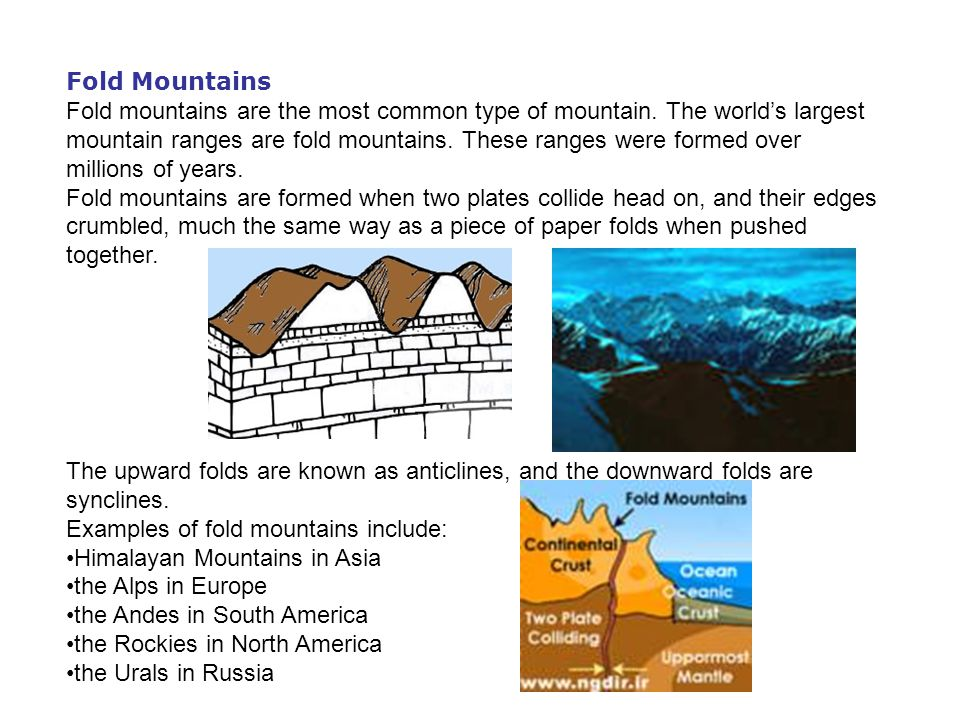 Fault-block Mountains These mountains form when faults or cracks in the earth s crust force some materials or blocks of rock up and others down.