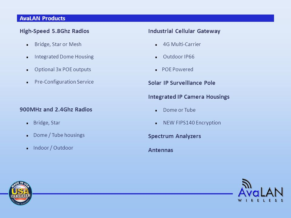 AvaLAN Products High-Speed 5.8Ghz Radios Bridge, Star or Mesh Integrated Dome Housing Optional 3x POE outputs Pre-Configuration Service 900MHz and 2.4Ghz Radios Bridge, Star Dome / Tube housings Indoor / Outdoor Industrial Cellular Gateway 4G Multi-Carrier Outdoor IP66 POE Powered Solar IP Surveillance Pole Integrated IP Camera Housings Dome or Tube NEW FIPS140 Encryption Spectrum Analyzers Antennas