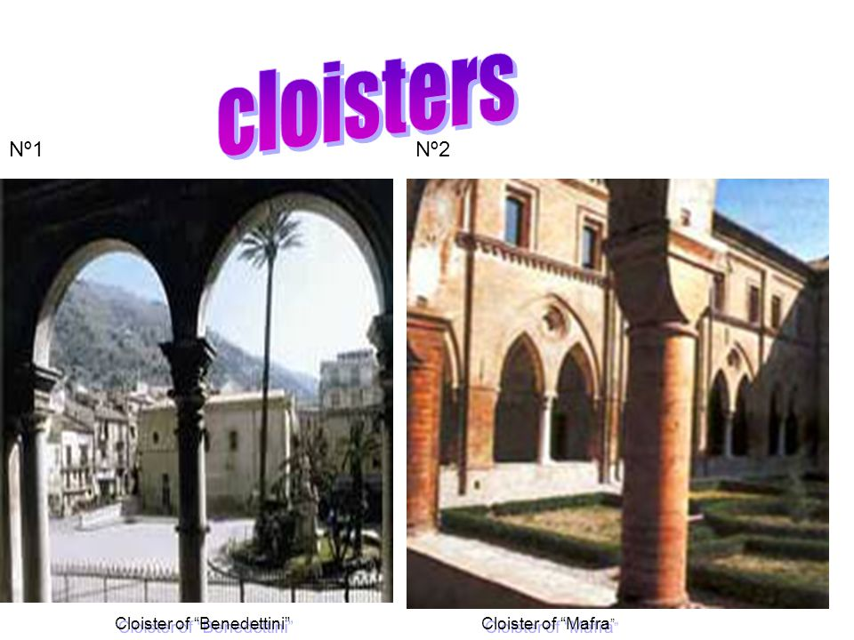 The first cloister,made up of 52 marble columns and 12 statues, begun by Francisco Battaglia, with dynamic classic rhythm was completed in 1841.