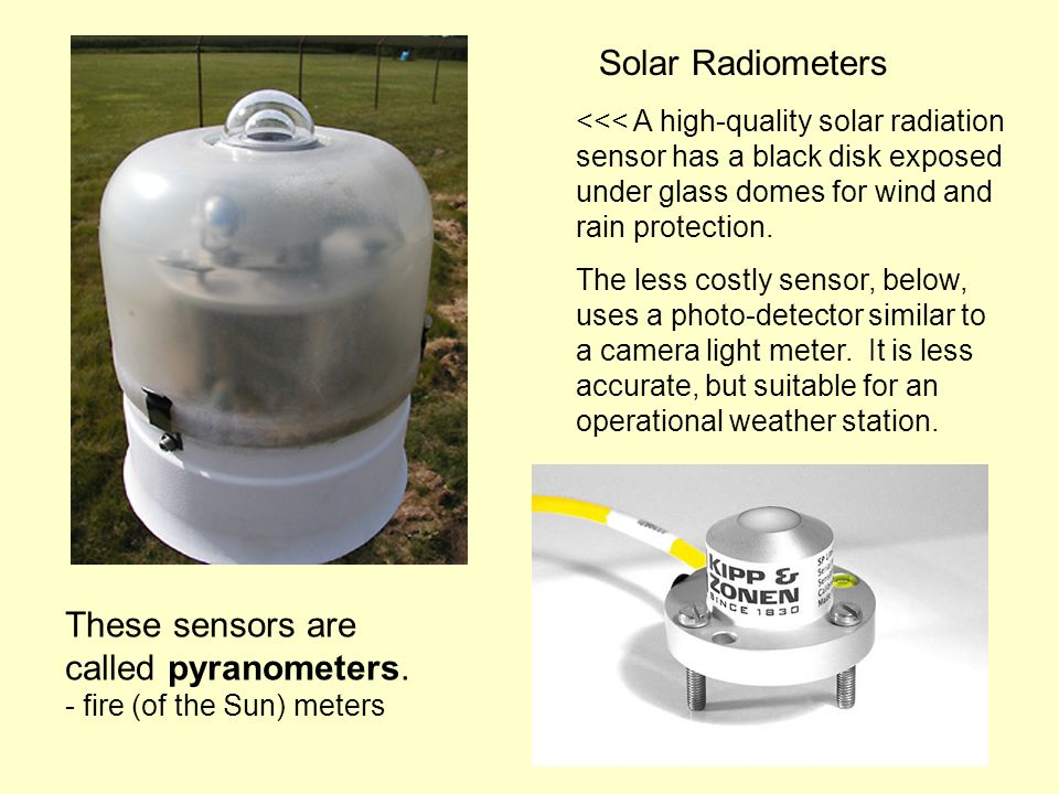 Solar Radiometers <<< A high-quality solar radiation sensor has a black disk exposed under glass domes for wind and rain protection.