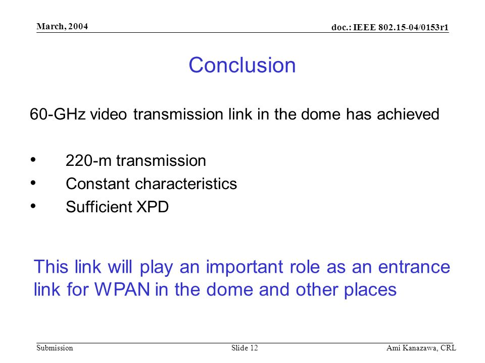 doc.: IEEE 802.15-04/0153r1 Submission March, 2004 Ami Kanazawa, CRLSlide 12 Conclusion 60-GHz video transmission link in the dome has achieved 220-m transmission Constant characteristics Sufficient XPD This link will play an important role as an entrance link for WPAN in the dome and other places