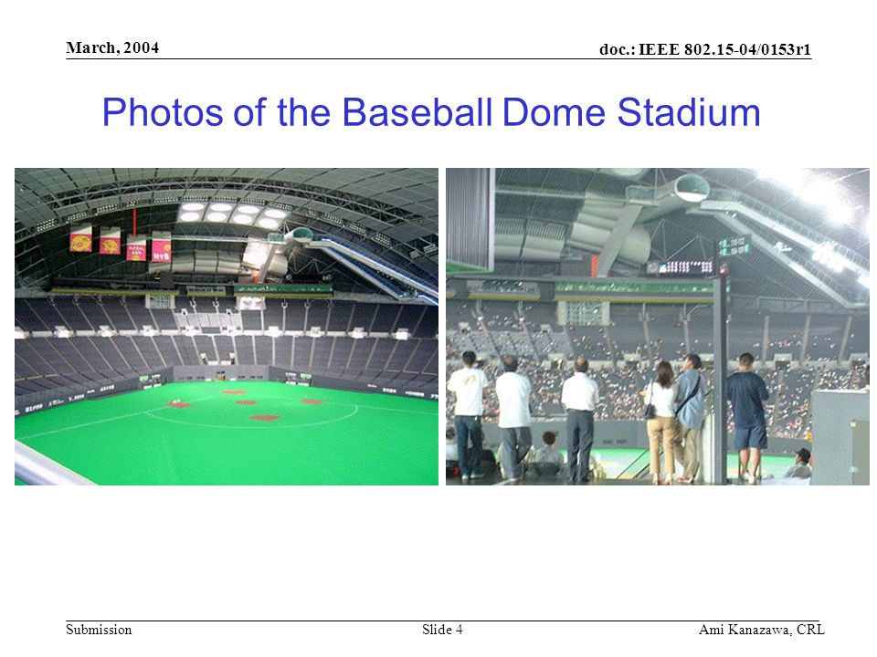 doc.: IEEE 802.15-04/0153r1 Submission March, 2004 Ami Kanazawa, CRLSlide 4 Photos of the Baseball Dome Stadium