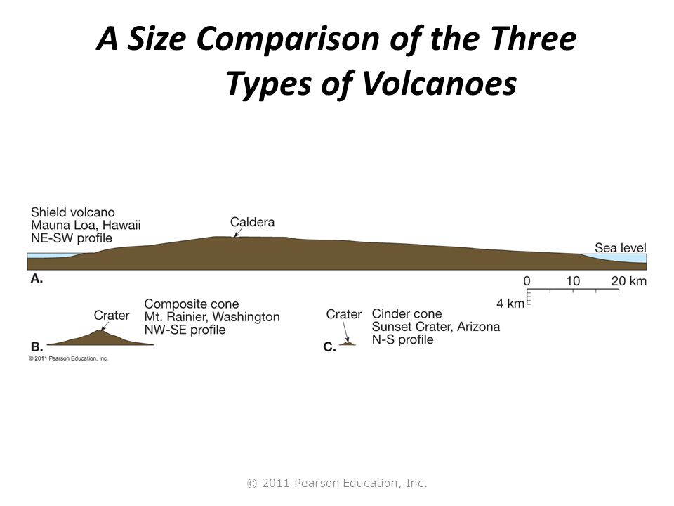 © 2011 Pearson Education, Inc. A Size Comparison of the Three Types of Volcanoes