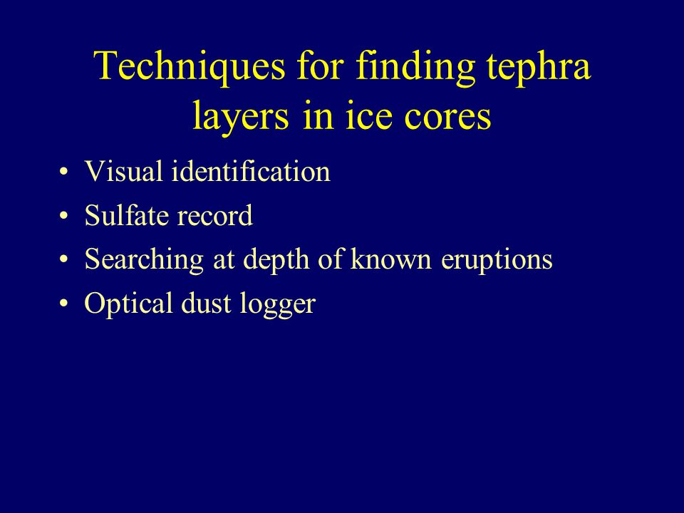 Techniques for finding tephra layers in ice cores Visual identification Sulfate record Searching at depth of known eruptions Optical dust logger