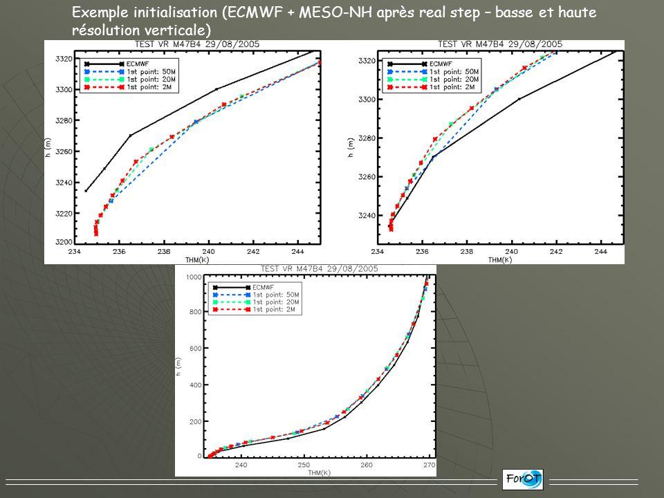 Exemple initialisation (ECMWF + MESO-NH après real step – basse et haute résolution verticale)