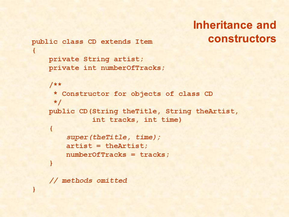 public class CD extends Item { private String artist; private int numberOfTracks; /** * Constructor for objects of class CD */ public CD(String theTitle, String theArtist, int tracks, int time) { super(theTitle, time); artist = theArtist; numberOfTracks = tracks; } // methods omitted }