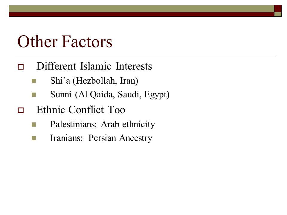 Other Factors  Different Islamic Interests Shi'a (Hezbollah, Iran) Sunni (Al Qaida, Saudi, Egypt)  Ethnic Conflict Too Palestinians: Arab ethnicity