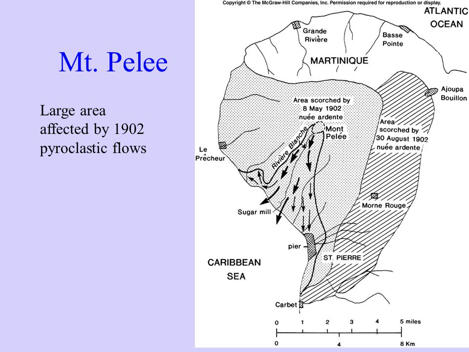 Mt. Pelee Large area affected by 1902 pyroclastic flows