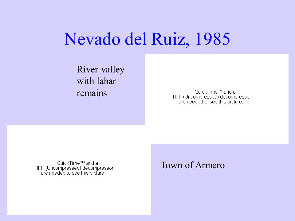 Nevado del Ruiz, 1985 River valley with lahar remains Town of Armero