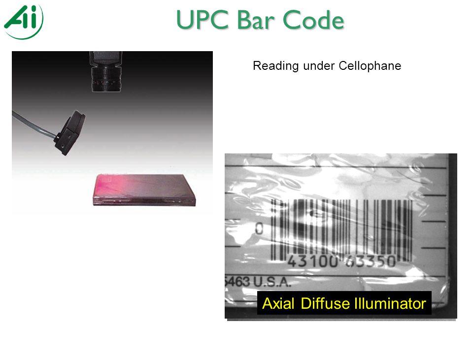 Reading under Cellophane UPC Bar Code Broad Area Linear ArrayDark Field Ring LightBright Field Ring Light Axial Diffuse Illuminator
