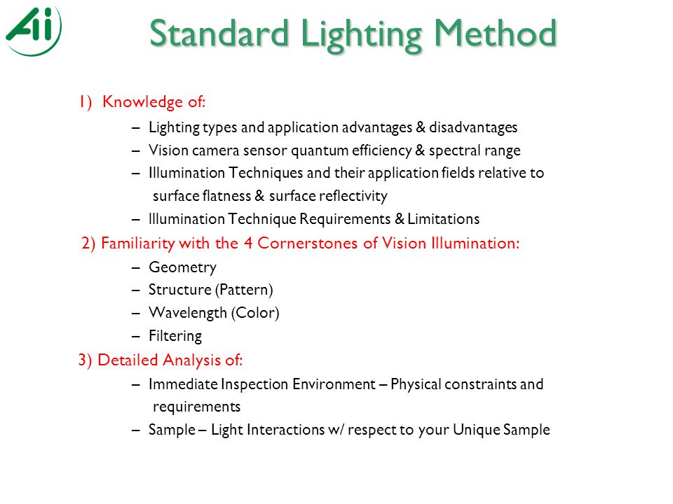 Standard Lighting Method 1) Knowledge of: –Lighting types and application advantages & disadvantages –Vision camera sensor quantum efficiency & spectral range –Illumination Techniques and their application fields relative to surface flatness & surface reflectivity –lllumination Technique Requirements & Limitations 2) Familiarity with the 4 Cornerstones of Vision Illumination: –Geometry –Structure (Pattern) –Wavelength (Color) –Filtering 3) Detailed Analysis of: –Immediate Inspection Environment – Physical constraints and requirements –Sample – Light Interactions w/ respect to your Unique Sample