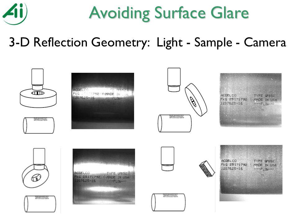 3-D Reflection Geometry: Light - Sample - Camera Avoiding Surface Glare