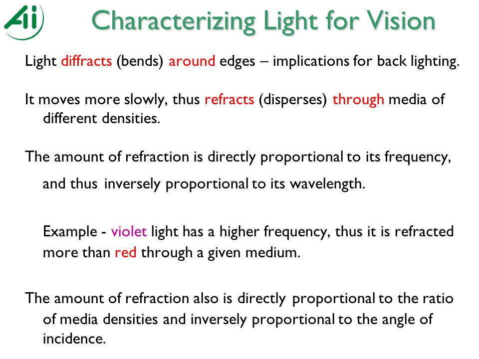 Light diffracts (bends) around edges – implications for back lighting.