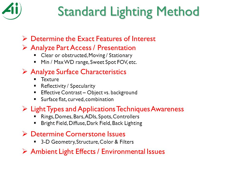 Standard Lighting Method  Determine the Exact Features of Interest  Analyze Part Access / Presentation  Clear or obstructed, Moving / Stationary  Min / Max WD range, Sweet Spot FOV, etc.