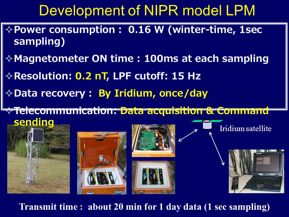 Development of NIPR model LPM  Power consumption : 0.16 W (winter-time, 1sec sampling)  Magnetometer ON time : 100ms at each sampling  Resolution: