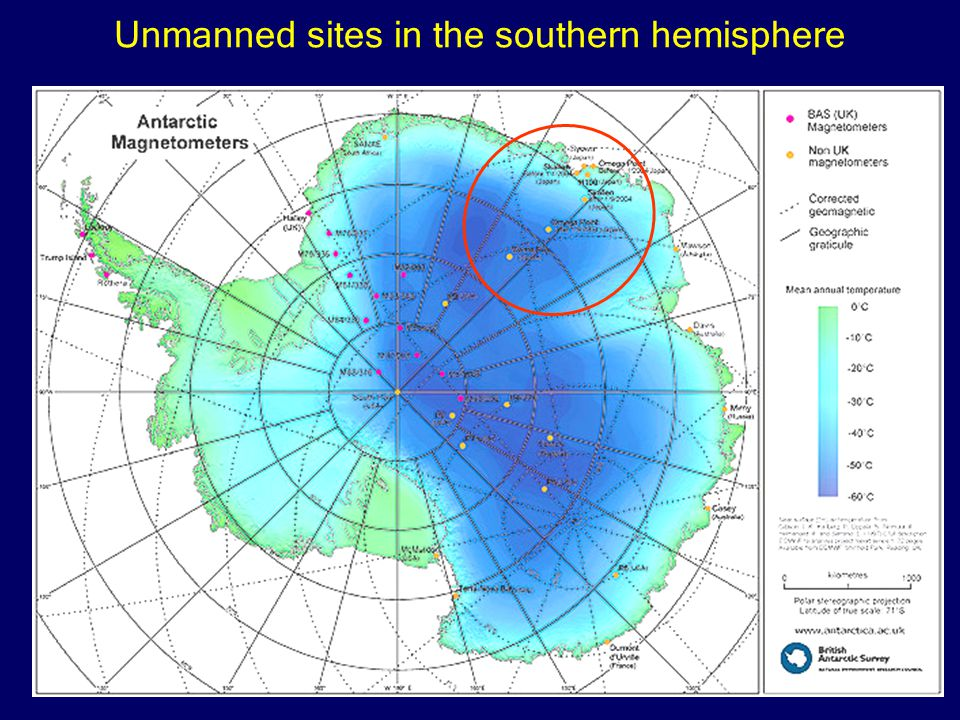 Unmanned sites in the southern hemisphere