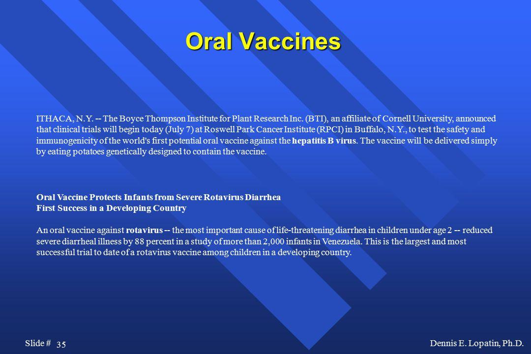 35 Slide #Dennis E. Lopatin, Ph.D. Oral Vaccines ITHACA, N.Y.