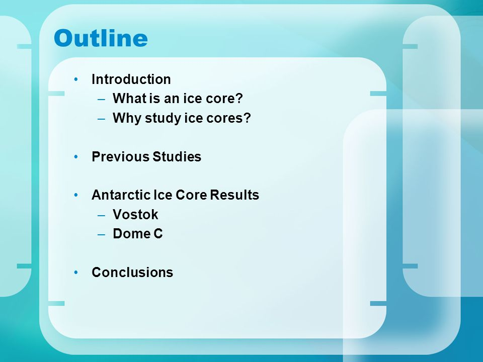 Outline Introduction –What is an ice core. –Why study ice cores.