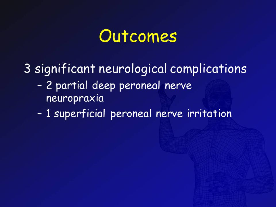 Outcomes 3 significant neurological complications –2 partial deep peroneal nerve neuropraxia –1 superficial peroneal nerve irritation