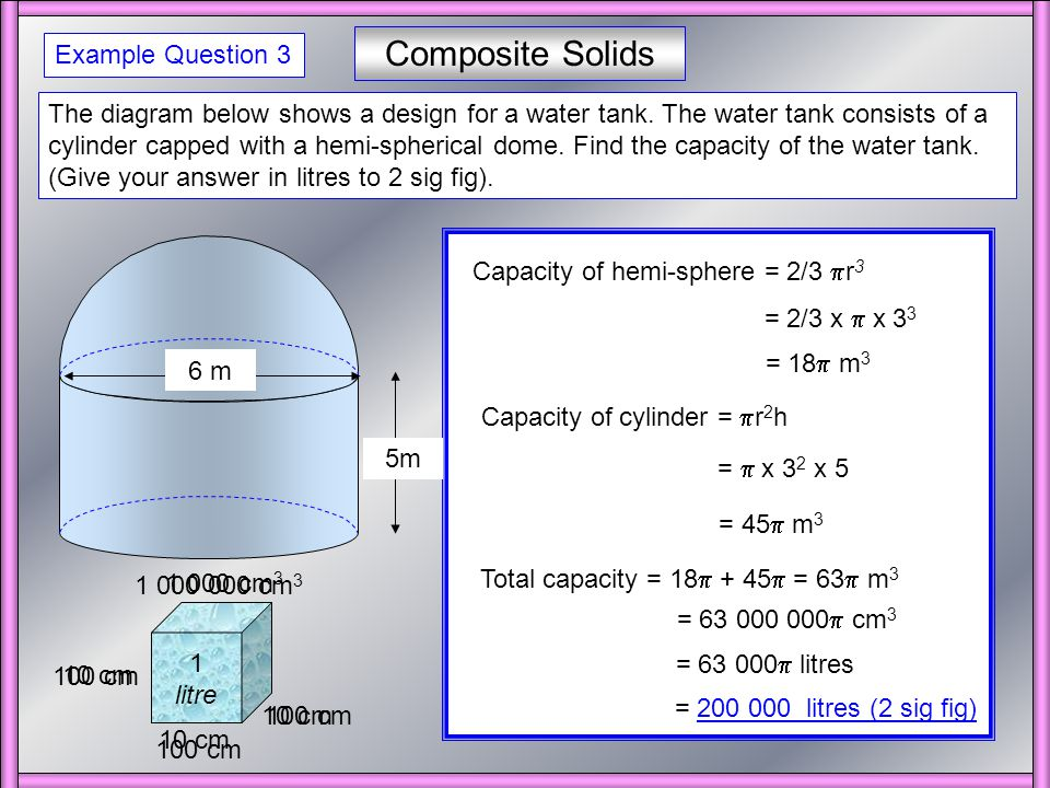 Composite Solids The shape below is composed of a solid metal cylinder capped with a solid metal hemi-sphere as shown.