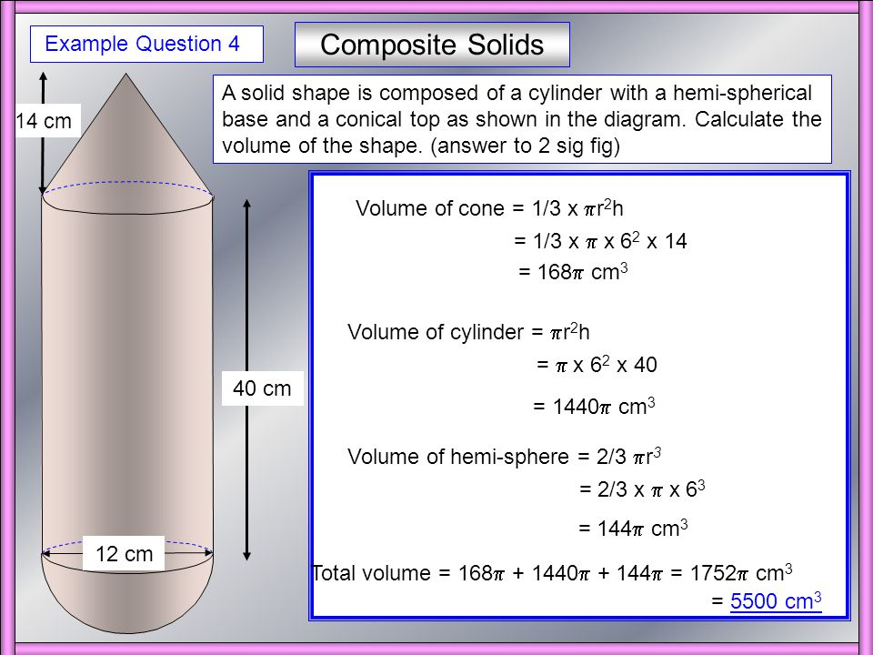 Composite Solids The diagram below shows a design for a water tank.