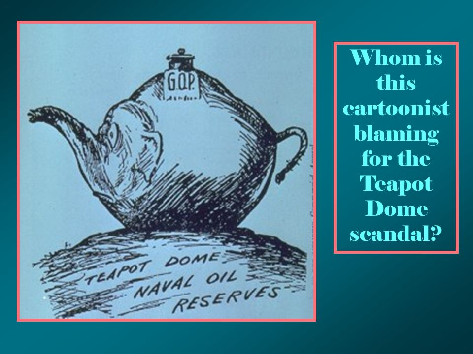 Whom is this cartoonist blaming for the Teapot Dome scandal?
