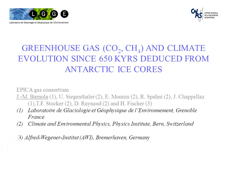 GREENHOUSE GAS (CO 2, CH 4 ) AND CLIMATE EVOLUTION SINCE 650 KYRS DEDUCED FROM ANTARCTIC ICE CORES EPICA gas consortium J.-M.