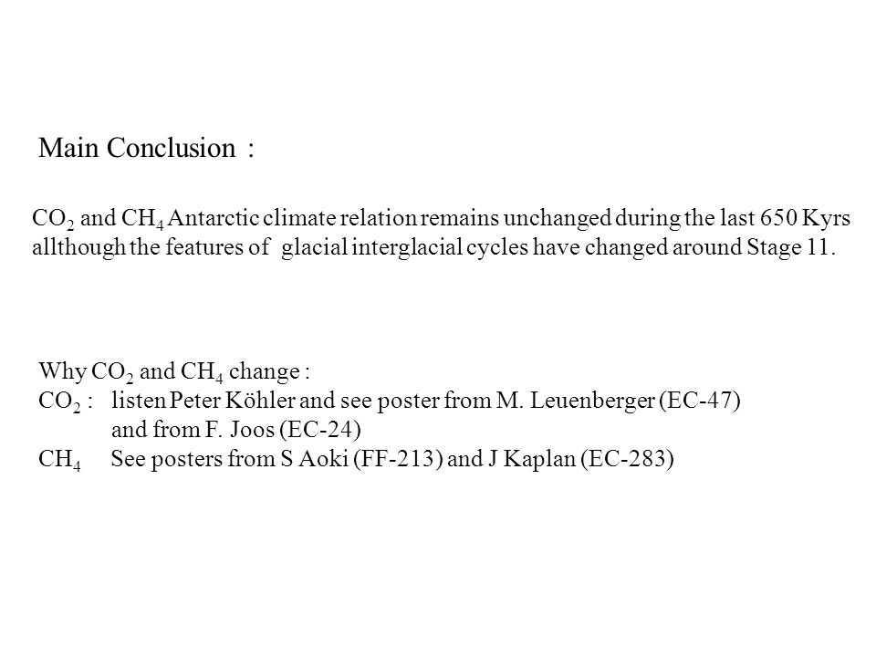 Main Conclusion : CO 2 and CH 4 Antarctic climate relation remains unchanged during the last 650 Kyrs allthough the features of glacial interglacial cycles have changed around Stage 11.