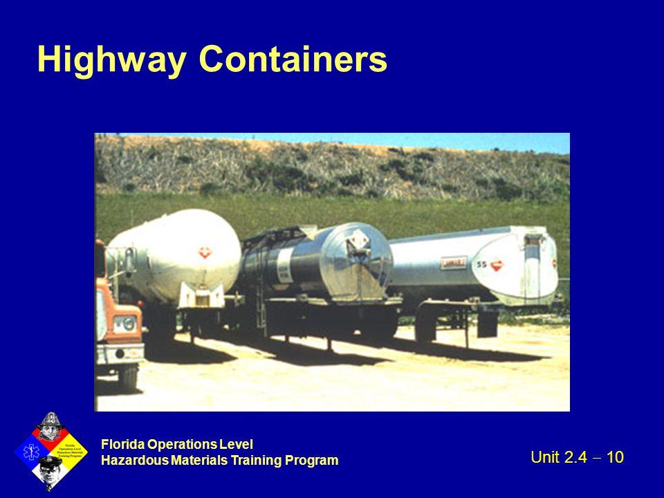 Florida Operations Level Hazardous Materials Training Program Highway Containers Unit 2.4  10