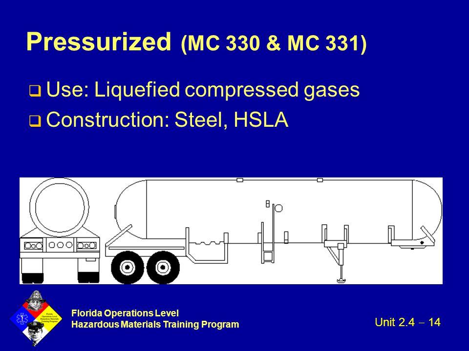 Florida Operations Level Hazardous Materials Training Program Pressurized (MC 330 & MC 331) q Use: Liquefied compressed gases q Construction: Steel, H