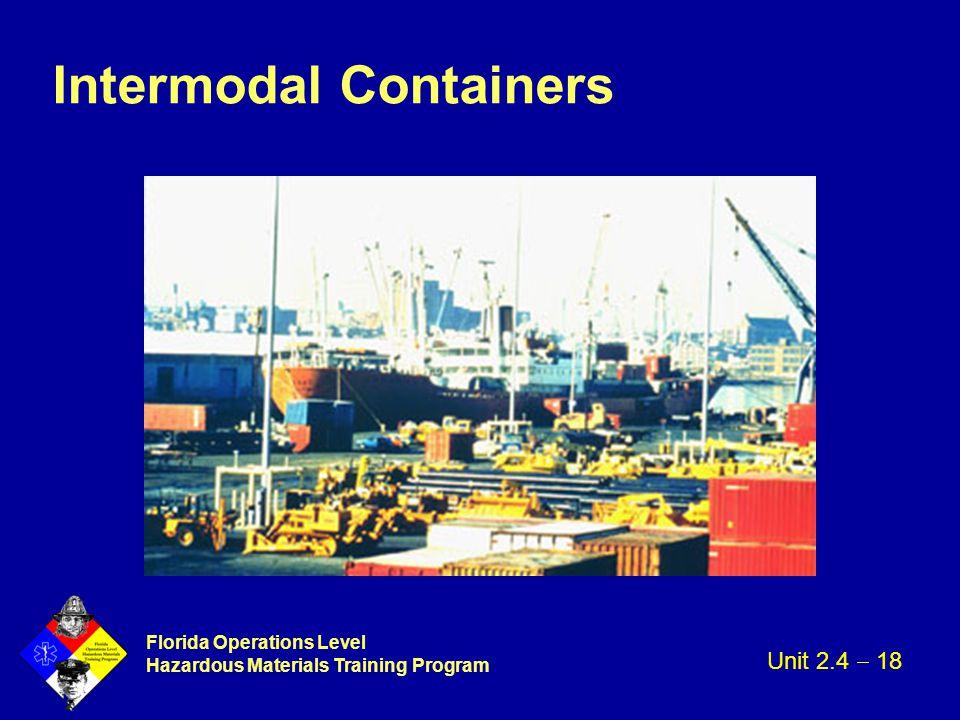 Florida Operations Level Hazardous Materials Training Program Intermodal Containers Unit 2.4  18