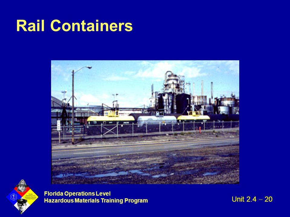 Florida Operations Level Hazardous Materials Training Program Rail Containers Unit 2.4  20