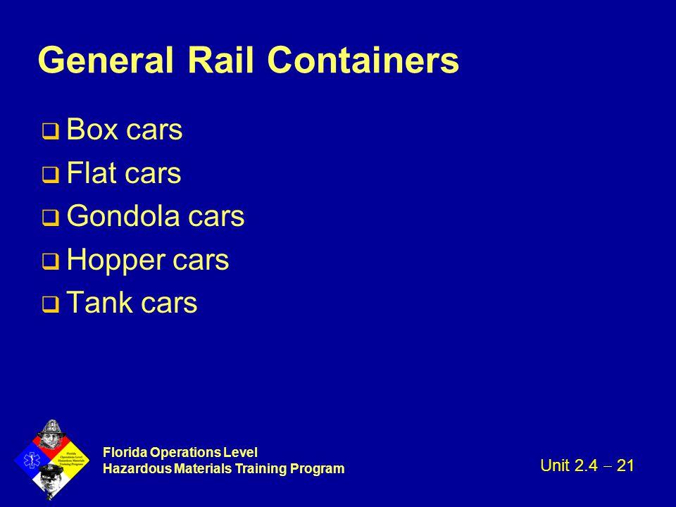 Florida Operations Level Hazardous Materials Training Program General Rail Containers q Box cars q Flat cars q Gondola cars q Hopper cars q Tank cars